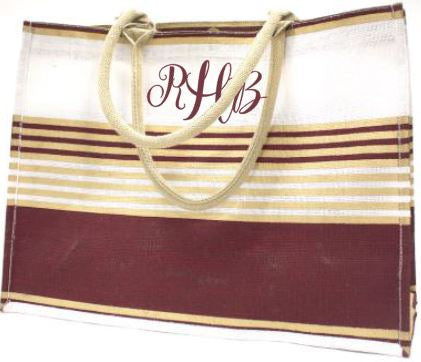 Juco tote with maroon, gold, white stripes.  Personalize with a Name or Monogram in maroon, gold, or white.