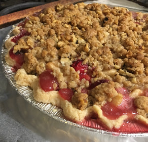 Frozen Pear Cranberry Walnut Crumble Pie