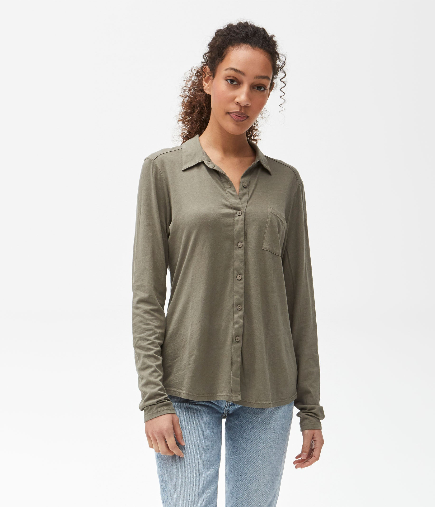 Michael Stars Womens Harley Knit Button Down