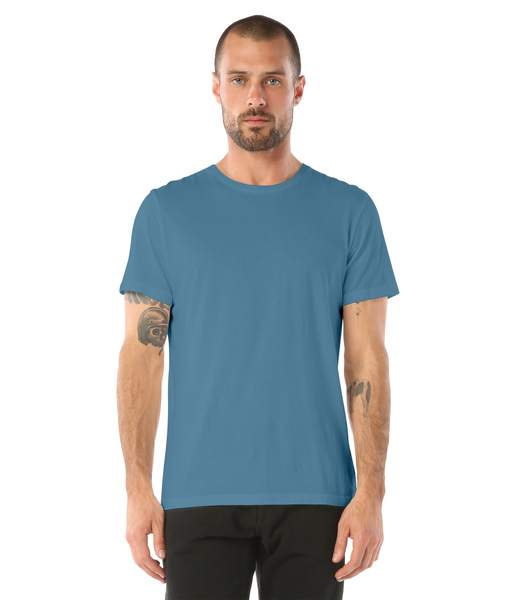 Cut in ultrasoft bamboo jersey; with self trim at the neckband; this short sleeve crew neck tee is essential for your casual style.