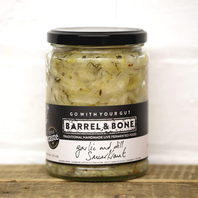 Garlic & Dill Sauerkraut 500g.  Live Fermented.  Raw and unpasteurised.