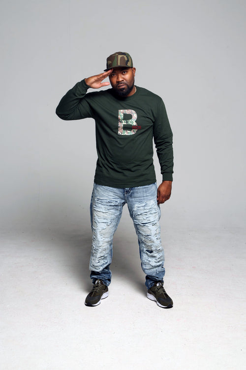 B.I.O.S. Men Long Sleeve T-Shirt - Dark Green Camo