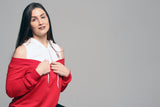 B.I.O.S. Women Open Shoulder Hoodie Shirt