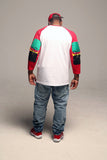 B.I.O.S. Men Long Sleeve T-Shirt With Elbow Patch - Red & White