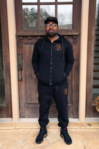 B.I.O.S. Men Track Suit - Black & Brown