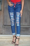B.I.O.S. Women's Distressed Patched Jeans