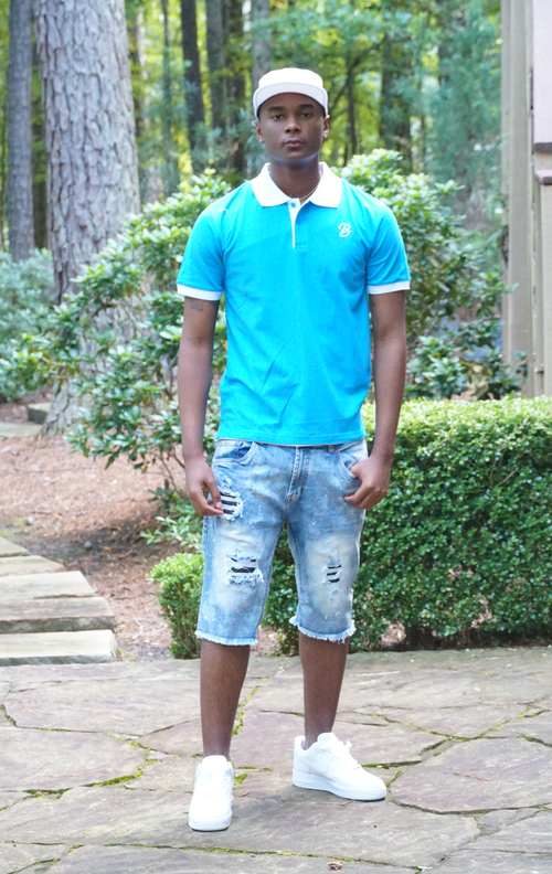 B.I.O.S. Color Polo Shirt (Turquoise Blue)