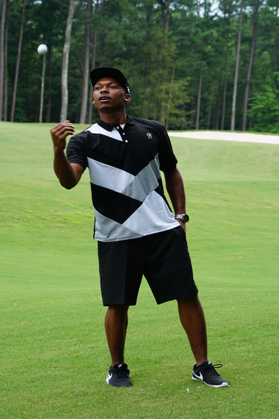 B.I.O.S. Gray/White/Black Color Block Polo Shirt