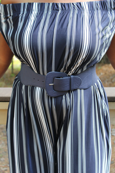 B.I.O.S. Women's Wide Waist Belt (Navy)