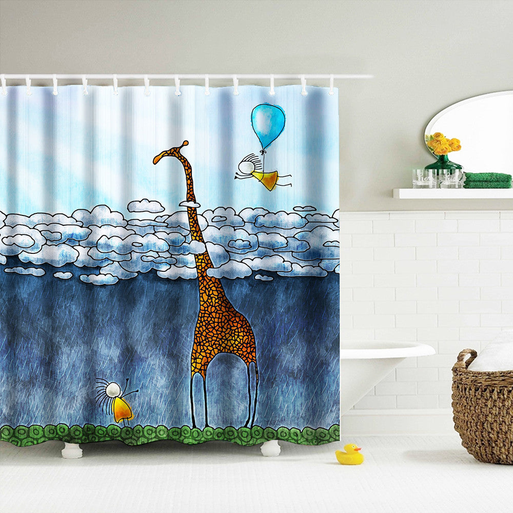 Digital Print Waterproof And Mildewproof Shower Curtain Size 180*180 CM And 12 Hooks Bathroom Shower Curtain