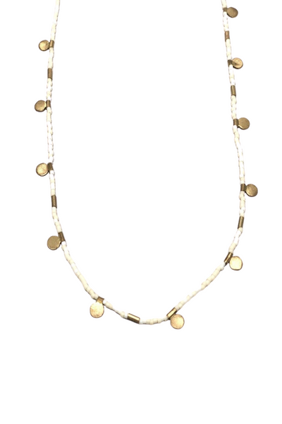 Ulla Brass Disc & Delicate White Bead Necklace