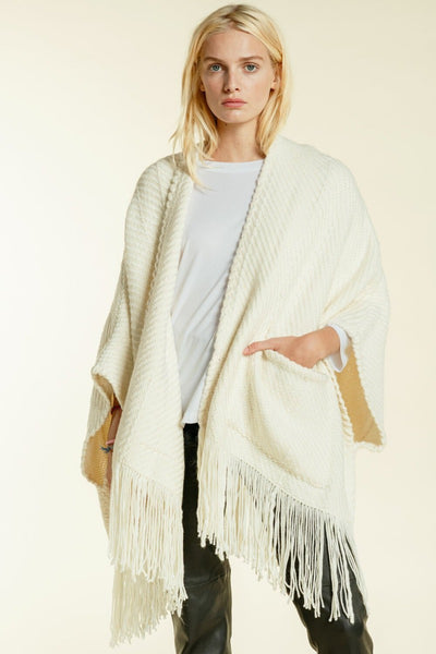 WEHVE, Ivory Billy Fringe Cardigan with Pockets