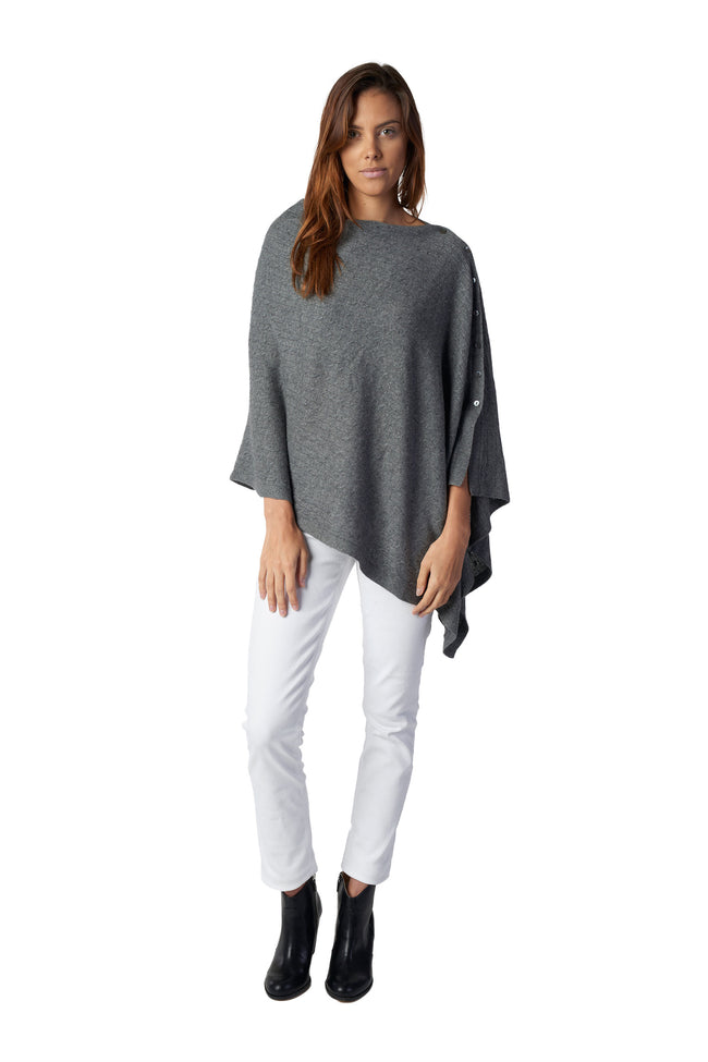 Button Poncho - Cable Knit