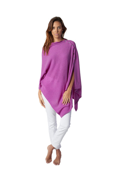 Cashmere Button Poncho - Colours