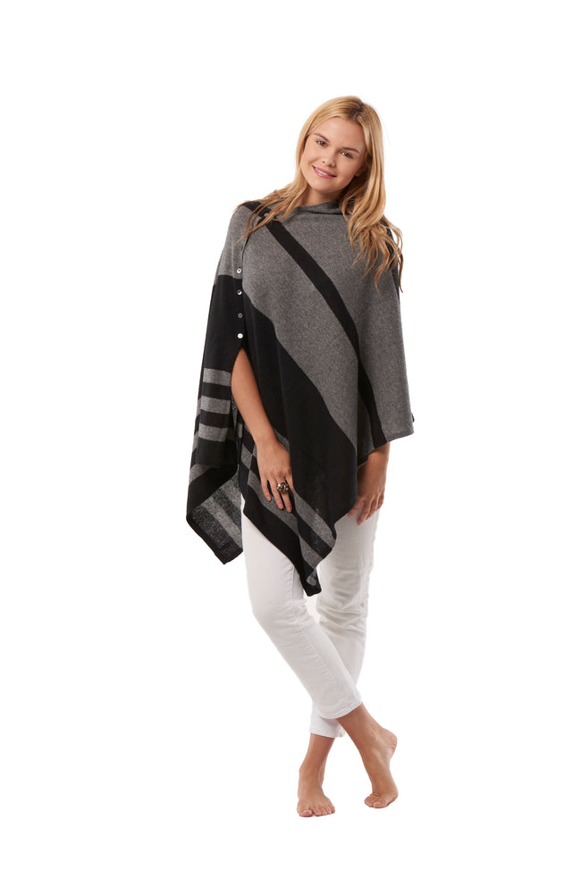 Button Poncho - Stripes