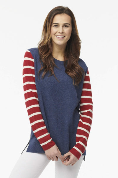Nantucket (Striped Sleeve) Boyfriend Crew