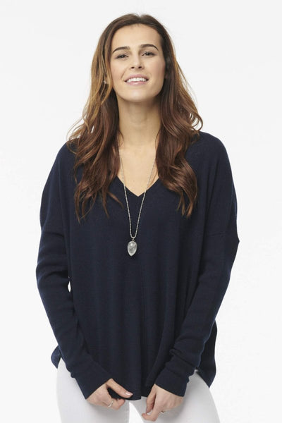 Cashmere Baseball V-Neck Sweater
