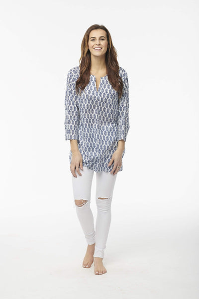 Block Printed Tunic, Navy floral