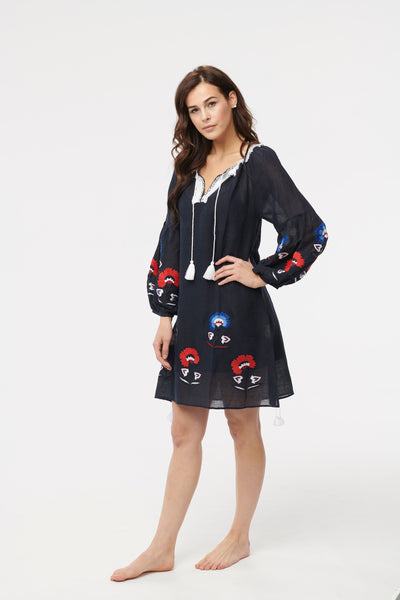 Benaras Floral Journey Tunic Navy