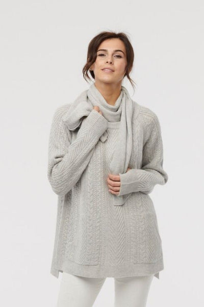 Light grey cashmere cable knit sweater