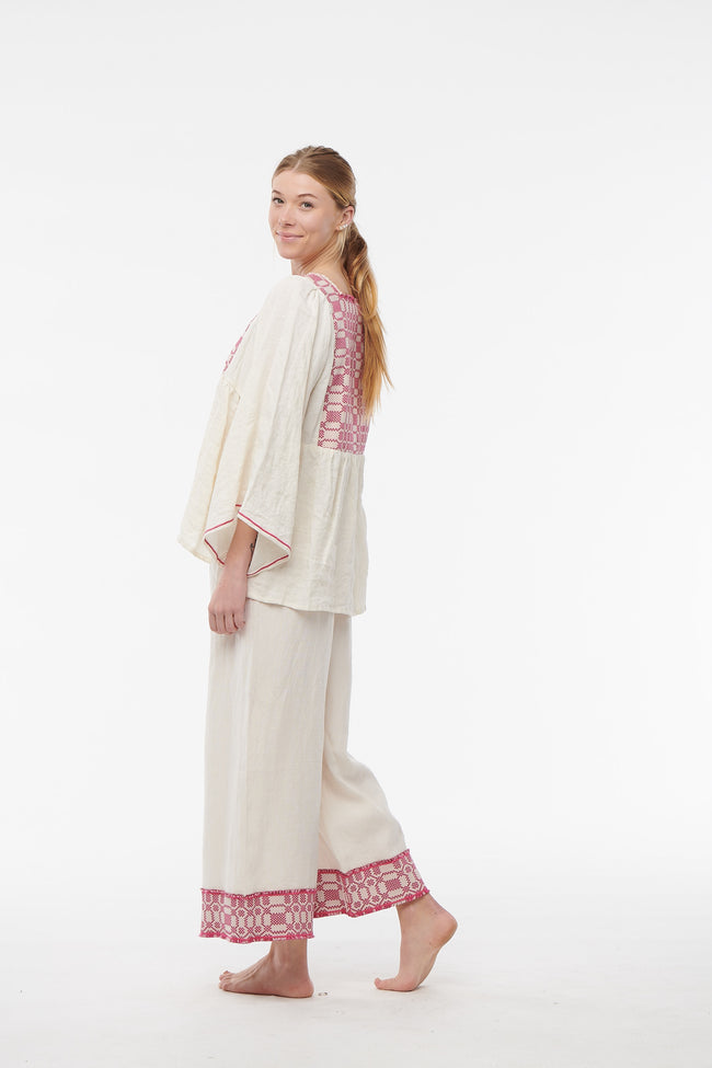 Nina Leuca, Embroidered Linen Pants