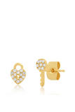 Tai, Gold CZ Heart Lock & Key Stud Earrings