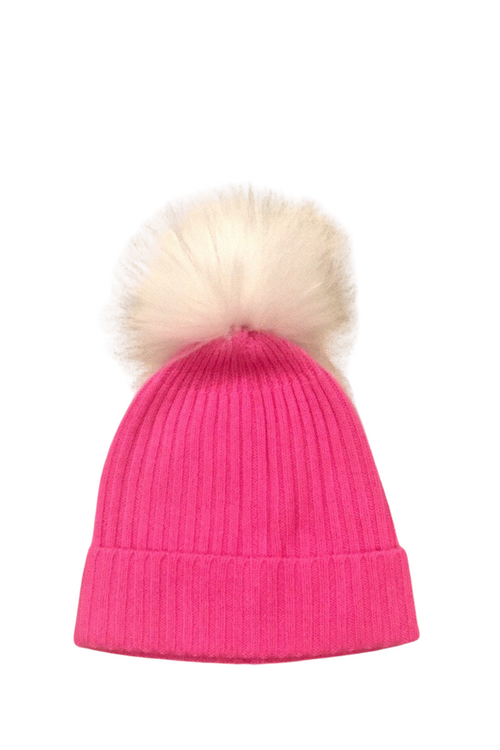 Cashmere Ribbed Hat with White Pom Pom