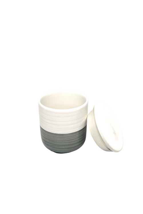 White/Grey Jar with Lid