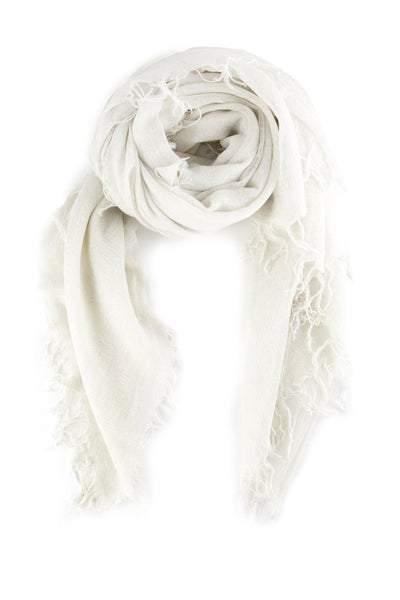 Chan Luu -  White Silver Metallic Cashmere and Silk Scarf