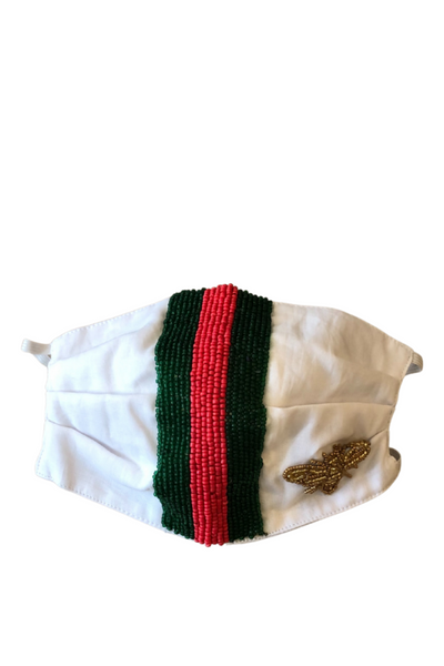 Mask, White/Green/Red Stripes with Gold Bee