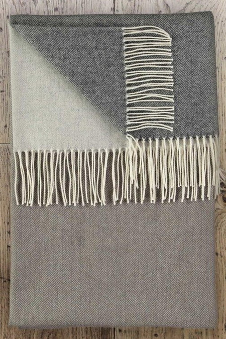 TWIG - Barncoose Pearl Grey Lambswool Throw
