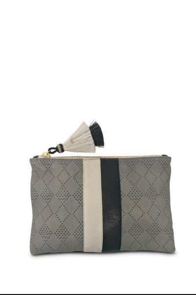 Kempton & Co. Diamond Perforated Small Pouch - Storm Grey