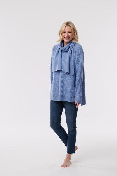 Cable Knit Hygge Sweater with scarf (Limited FUN colours)