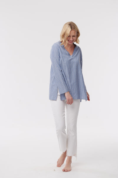 Ruffle V-Neck Cotton Top