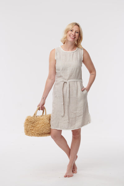 Linen Fringe Dress with Belt