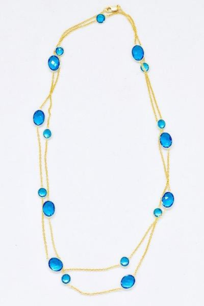 Bezel Long Chain Necklace