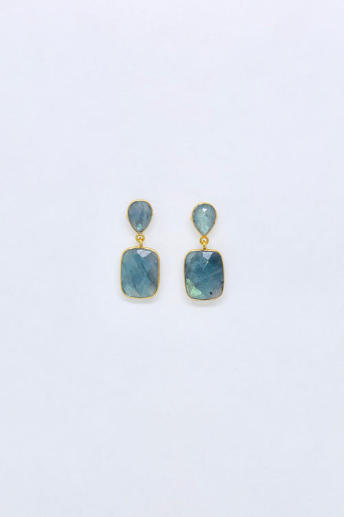 Labradorite Cushion Stud Earrings
