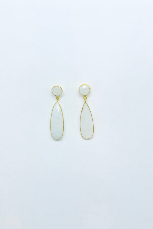 Rainbow Moonstone Long Pear Stud Earrings