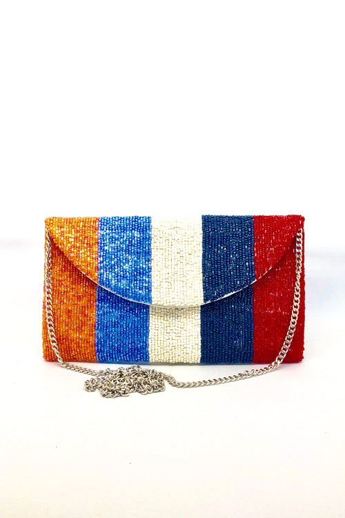 Beaded Stripe Clutch - small