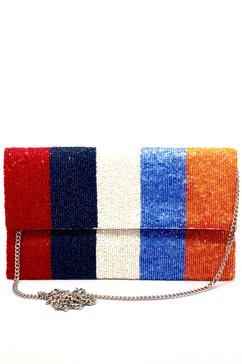 Beaded Stripe Clutch - large