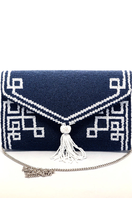 Beaded Envelope tassel Clutch