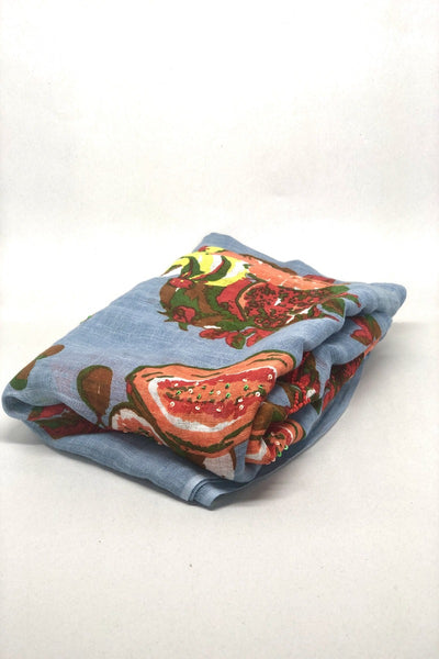 Dupatta Scarf, Denim Blue with Fruits and Sequins