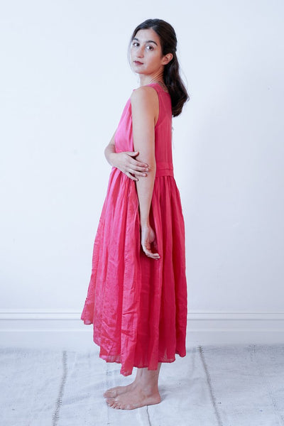 Fuschia Pink Pleated Long Dress, by Runaway Bicycle