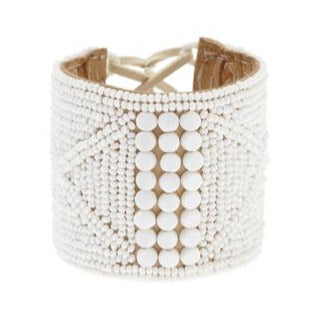 Sidai lace up Cuff - white