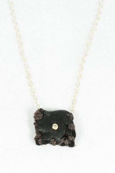 Dark Leather Talisman necklace