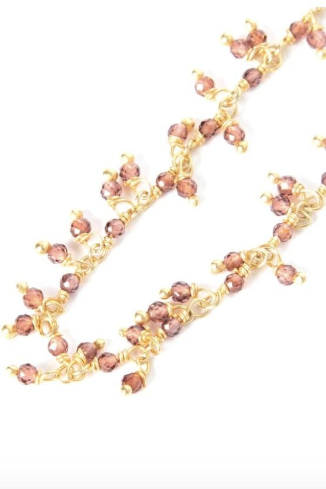 Chan Luu - Short Gold Plated Necklace with Garnet