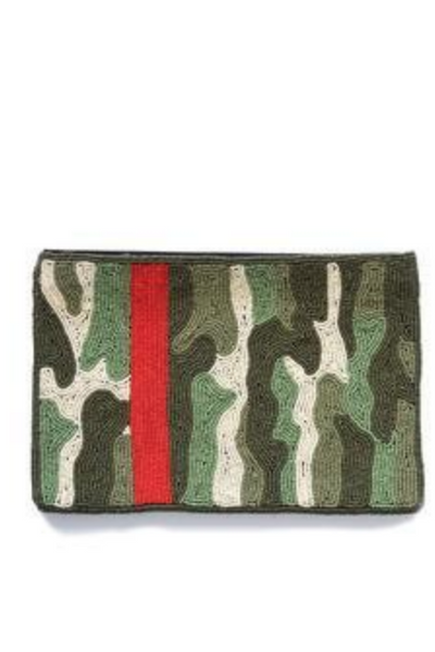 Green Camo with Red Stripe Beade Clutch