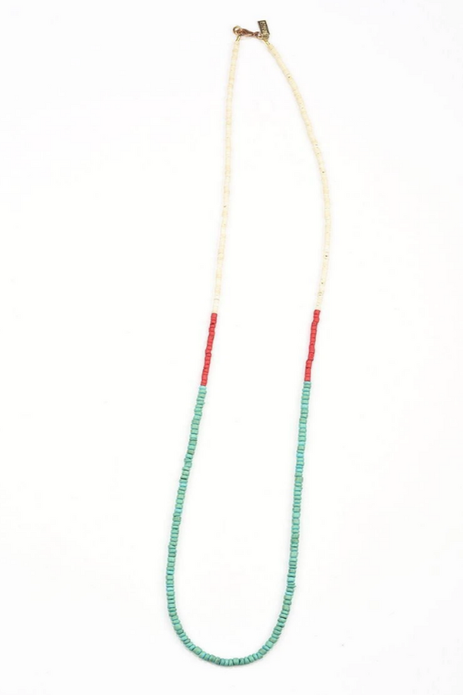 Coconut Beaded Necklace - Tri Colour