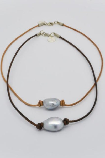 Pearl Choker on dark or tan leather