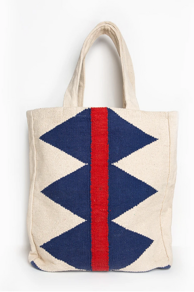 Ink + Alloy Diamond & Red Stripe Dhurrie Tote
